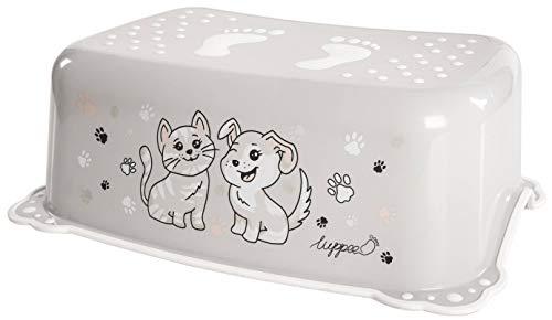 LUPPEE Tritthocker mit Anti-Rutsch-Funktion, Tritthocker Kinder, Kinder Tritt Ab ca. 18 Monate bis ca. 10 Jahren, Hund und Katze, Grau