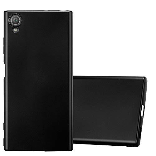 Cadorabo Hülle für Sony Xperia XA1 Plus in METALLIC SCHWARZ - Handyhülle aus flexiblem TPU Silikon - Silikonhülle Schutzhülle Ultra Slim Soft Back Cover Hülle Bumper