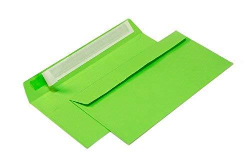 Briefumschläge DIN lang C6/5 114x229 mm grün 120 g/m² ohne Fenster haftklebend (Artikel: 208A) (100)