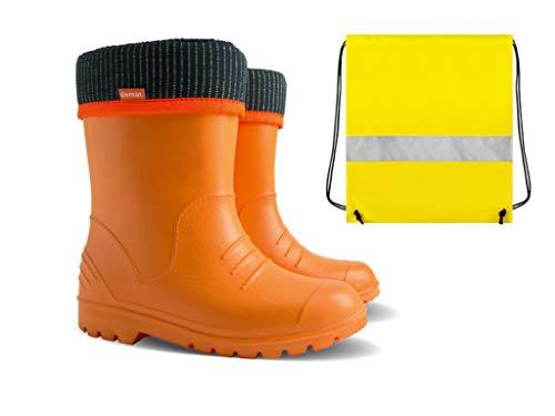 Demar rubberlaarzen kinderen regenlaarzen kinderlaarzen oranje gevoerd met binnensokken + schoenzakje neongeel jongens meisjes