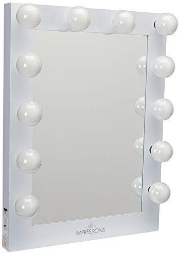 Impressions Vanity Hollywood Studio Lighted Make-Up Vanity Back Stage Mirror, Black, X-...