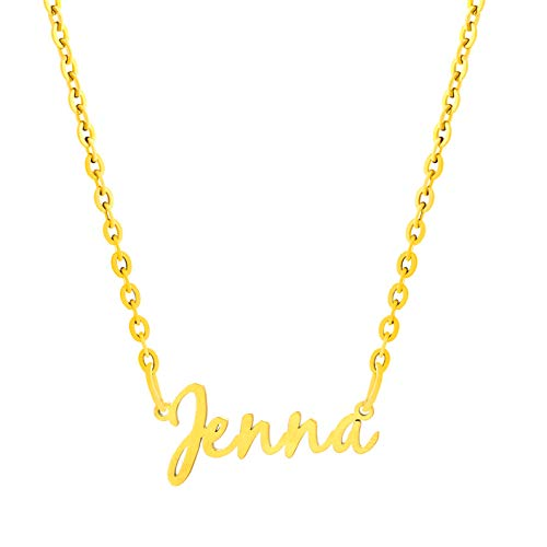 MEMGIFT Name Necklaces for Women Personalized Stainless Steel Jewelry 18K Gold Filled Necklace Unique Delicate Birthday for Daughter BFF Women Teen Girls