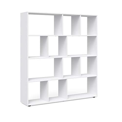 Vicco Raumteiler Pilar 12 Fächer - Raumtrenner Bücherregal Standregal 131,6 x 143 x 29 cm (BxHxT), Spanplatte Aktenregal (Weiß)