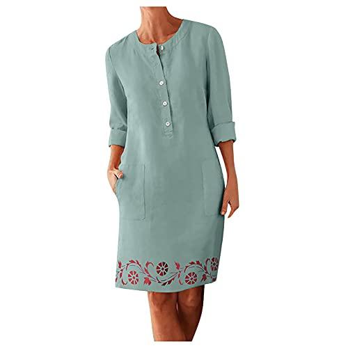SIHUA Baumwolle Leinen Kleider Damen V-Ausschnitt Bluse Hemdblusenkleid Elegantes Sommerkleid Knielang Langarm Tunikakleid Lose mit Taschen Modern Sexy Schöne Günstige Kleider