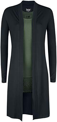 Black Premium by EMP Langer schwarzer Cardigan und grünes Top Black Premium Frauen Cardigan schwarz/Oliv L