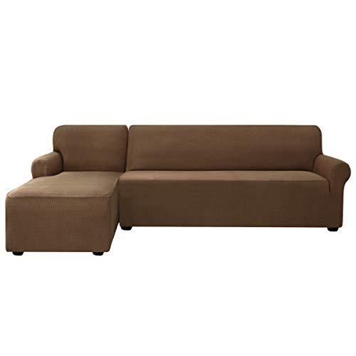 subrtex - Funda para sofá de Esquina, elástica, Antideslizante, Lavable, de Tela Suave, café, Links 2 Sitzer