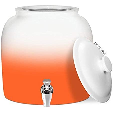 Brio Gradient Porcelain Ceramic Water Dispenser Crock with Faucet - LEAD FREE (Orange)