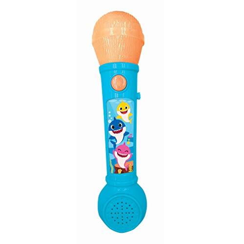 LEXIBOOK- Baby Shark Microfóno niños, Juguete Musical, Altavoz Integrado, Efectos Luminosos, melodías de demostración Incluidas, Azul/Naranja