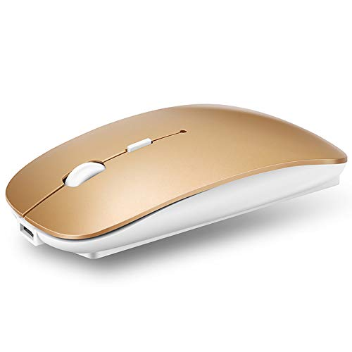 QIJIAYI 2.4GHz Wireless Bluetooth Mouse, Dual Mode Slim Rechargeable Wireless Mouse Silent USB Mice, 3 Adjustable DPI,Compatible for Laptop Windows MacBook Android MAC PC Computer (Gold)