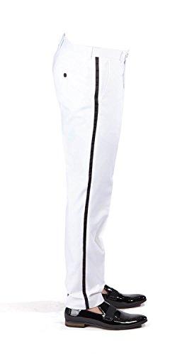 Slim Fit White Tuxedo Pants Flat Front No Pleats Black Side Satin Line AZAR (32 Waist 34 Length, White Pants)