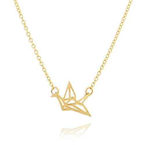 Collar Selia Diseño Cisne Crane Origami / Colgante Cisne de la Felicidad Origami estilo Minimalista