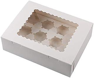 JVSISM 12 Cavity Cupcake Boxes Round Hole Muffin Box Baked Egg Tart Box Window Transparent Transparent Cake Gift Box (10 S...