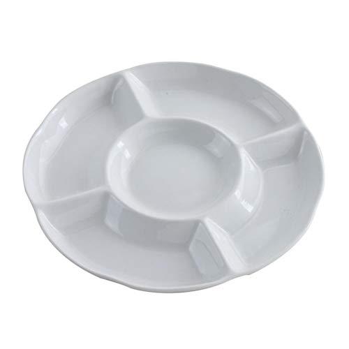 BESTONZON Dip/Snack Schalen,5-Fach unterteiltem Melamin-Menüteller/Antipasti-Teller, Appetizer Tray, Sharing Platte für frische Snacks (9 Zoll 22.5 x 2,6, Weiß)