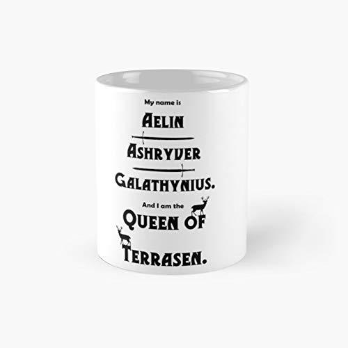 Taza clásica de la reina de Terrasen, color negro sobre blanco, el mejor regalo, tazas de café divertidas, 11 onzas