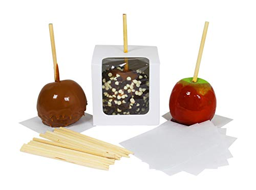 Candy Apple Boxes with Sticks and Parchment Squares. 4x4x4 Caramel or Candied Apple Gift Boxes with Clear Window. Packaging Set Includes 10 Boxes, Sticks & Parchment Squares.