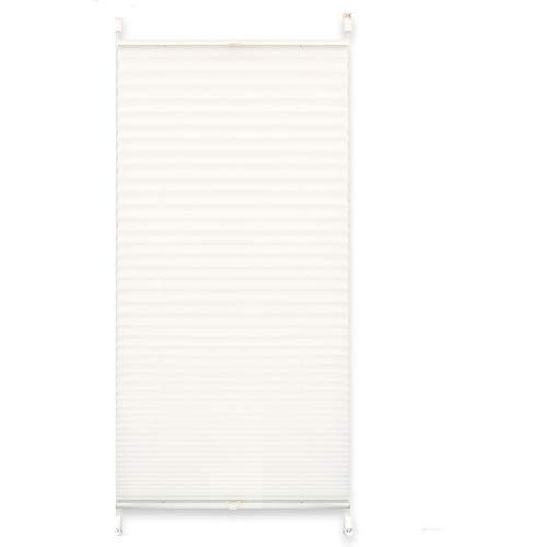 EXKLUSIV HEIMTEXTIL Plissee Verspannt mit Klemmträgern ohne Bohren Faltrollo Fensterrollo Marke 50 x 140 cm weiß Crash
