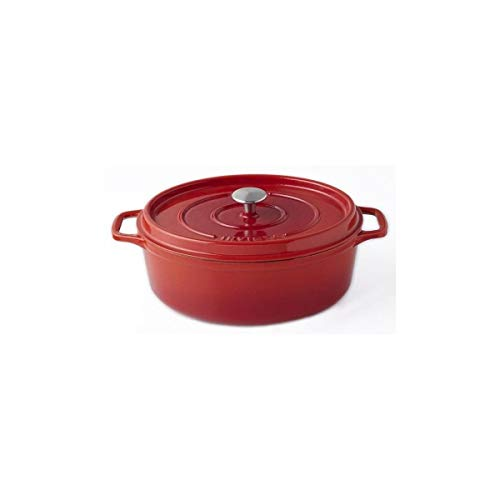 Invicta puv403330 Cocotte Ovale-33 cm-Fonte Emaillée-Rouge