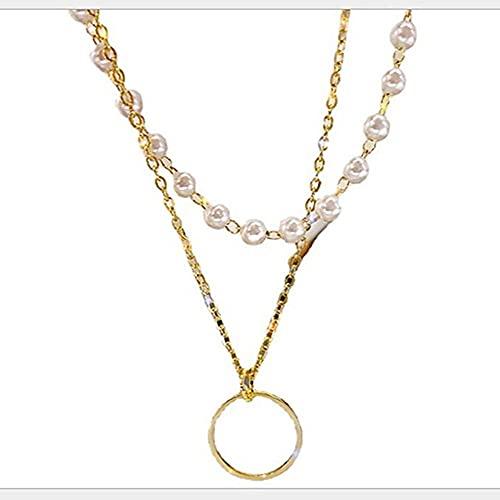 LKHJ Collar de Gargantilla de Perla para Mujeres Linda Capa Doble Capa Colgante Collares Collares de joyería Regalo