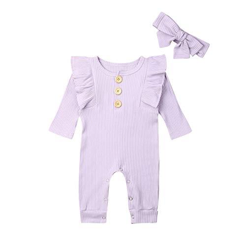Fiomva Conjunto de ropa de otoño para recién nacido, 2 piezas, mono de una pieza