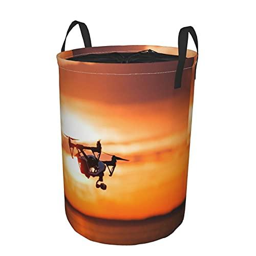 Portabiancheria grande,Quadrocopter Drone telecomando sagoma scCesto portabiancheria pieghevole in tessuto con manici, borsa per vestiti impermeabile per stanza dei giocattoli, 41,9 x 54,9 cm