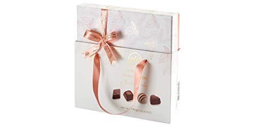 Elit Luxus Schokoladenpralinen - Pfirsichfarben Box mit Geschenktasche 170g