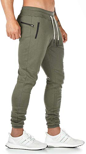 Herren Jogginghose Slim Fit Sporthose Baumwolle Streetwear Hose Freizeithose Grün L