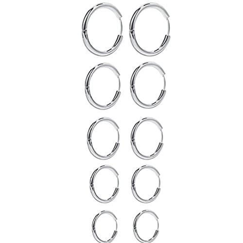 LjzlSxMF Pendientes del aro Pendientes Redondos del círculo de la Plata del Acero Inoxidable para la Muchacha de la Mujer de los Hombres 5 Pares