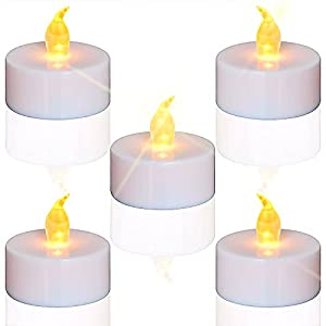 PACKAGE INCLUDE–flameless tea lights Set of 24(Size: Φ 3.4cm x H 3.6cm). Batteries are included and installed. On/Off sliding switch makes it easy to use. LONG BATTERY LIFE. Each LED tea light use a CR2032 button cell which is very efficient and easy...