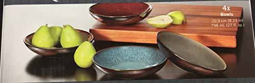 MIKASA Sapphire Stone ware Bowls | Set of 4 | 20.9 cm (8.23 in) | 798 ml (27 fl. oz) | 1303617