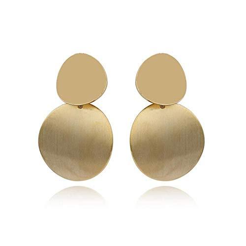 Pendientes colgantes redondos lisos salvajes de moda doble pendientes retro geométricos hechos a mano de oro y plata oreja