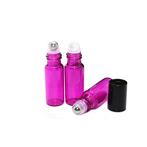 Ewandastore 50 Pcs 5ML Glass Roll on Refillable Bottles Vial with Glass Roller Balls and Black Plastic Lids for Fragrance Essential Oils Perfumes Lip Balms- Perfect Size for Travel(Hot Pink)