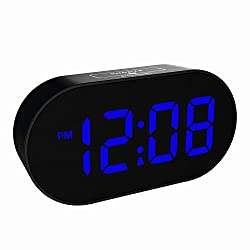 Plumeet [Updated Version] LED Alarm Clock Digital Clocks with Adjustable Brightness Dimmer and Alarm Volume - Blue Digit Display 12-24 Hrs - Kids Clocks with Snooze and USB Port (Navy Blue)