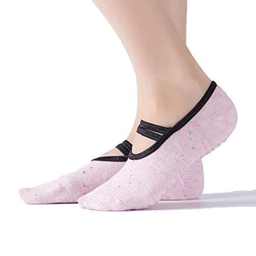 VIWIV Frauen Yoga Socken, (3 Paar) Baumwolle Socken rutschfeste Atmungsaktive Halfter Sling Boot Socken Für Fußball Ballett Pilates Socken Und Hausschuhe,4