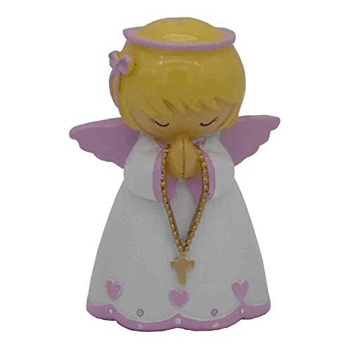 kruzifix24 Engel Schutzengel Figur Baby Girl Angel weiß rosa betend für Mädchen kindgerecht 7,5 cm Taufengel Geschenkidee Taufe Geburt