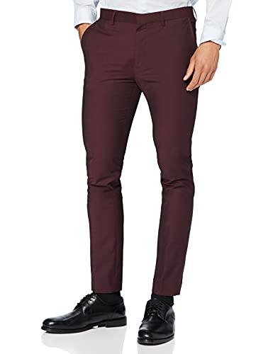 Marca Amazon - find. Pantalón de Traje Ajustado Hombre, Rojo (Burgundy), 34W / 31L, Label: 34W / 31L