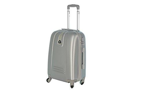 JustGlam - Bagaglio a mano Trolley in ABS rigido 4 ruote piroettanti voli lowcost/ Argento piccolo