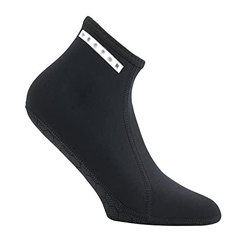 QAOSHOP Calcetines de buceo elásticos de neopreno de 3 mm, antideslizantes, para playa, para buceo, a prueba de frío, calcetines de buceo, calcetines de neopreno, color negro, M