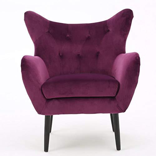 Christopher Knight Home Seigfried Velvet Arm Chair, Fuchsia