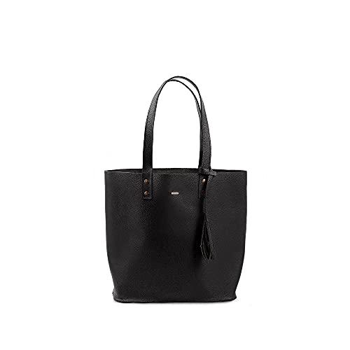 YAYAS PIEL Bolsa Petite Napa De Piel Negro - Bolsa de Piel para Dama - Leather Handbag - Bolsa Tote 100% de piel. (Negro)
