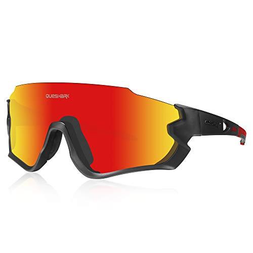 Queshark Gafas de Ciclismo para Hombre Mujer Bicicleta de Carretera 1 Lente Polarizada 3 HD UV400 Lente QE45 (Negro Rojo)