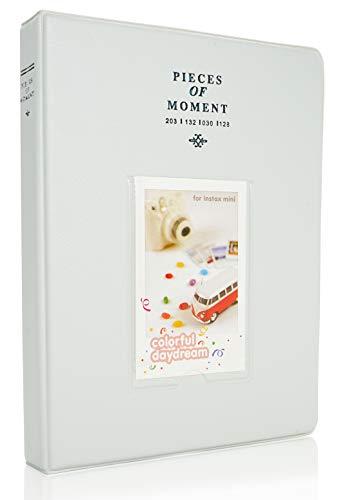 Yosuny PU Ledertasche Fotoalbum für Fujifilm Sofortbildkamera Filme, Fuji Mini 8+ Mini9 MINI11 70 90 25 50s 7s,3-Zoll Albumbuch (128 Taschen,Weißer Rauch)