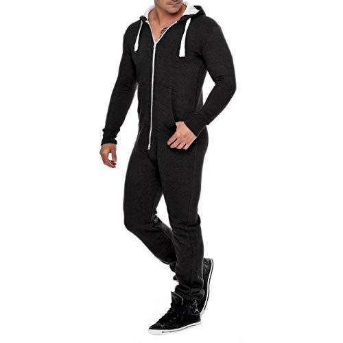 Herren Jumpsuit Fleece Schlafanzug Männer Traininganzug Onesie Schönes elegente Playsuit Herren Einteiler Onesie Overalls Hoodies Nachtwäsche (Medium, Schwarz)