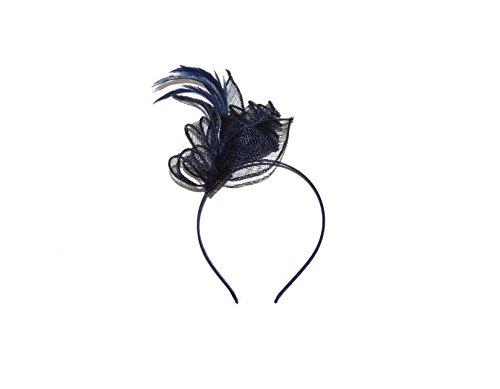 **NUEVO** Hermoso sombrero de tocado de pelo azul marino en diadema, bodas...