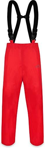 normani Erwachsenen Regenhose ungefüttert mit Hostenträgern, Wind- und wasserdicht sowie atmungsaktiv Farbe Rot Größe 4XL