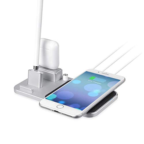 zvcv Wireless Charging Station Qi Fast Wireless Charger Stand Charging Station for iPhone x/Apple Pencil/AirPods,A