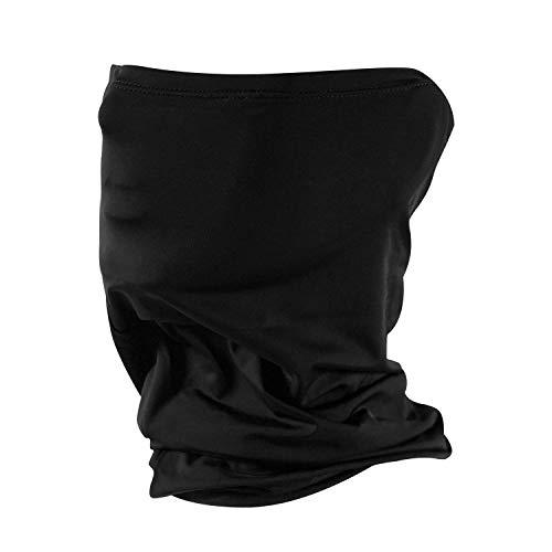 WOLF FRIENDS Schlauchschal mit Ohrtasche, Multifunktionales Halstuch Bandana Mundschutz Elastisch Atmungsaktiv Pflegeleicht, Einfarbig Schwarz (Schwarz 1stk)