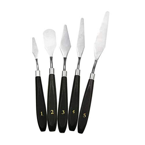 NewIncorrupt 5PCS Malmesser Set Palette Messer Edelstahl Spatel Kit für Künstler Leinwand Ölfarbe Farbmischung Malwerkzeug Set