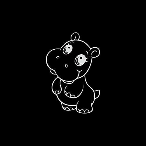 DSRLO Autocollant de Voiture 15 * 10 cm Dessin animé Mignon Hippopotame Graphique Autocollant Autocollant Couverture de Voiture Rayures Autocollants décoratifs Accessoires Noir/Ruban