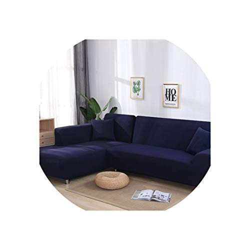 Sofa Coverl Shaped Sofa Cover Elastic Blue Sofa Covers for Living Room Couch Cover Sofa Slipcovers for Armchairs 1-4-Seater,Color 22,2Seater and 2Seater
