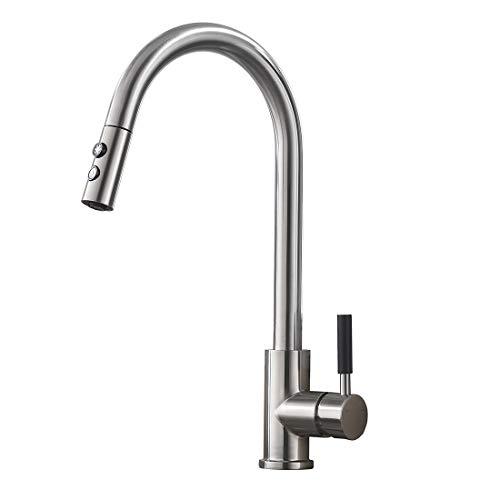 Delicaho Küchenarmatur, 360° Drehbar Einhebel gebürstet Nickel Brauseaufsatz Wasserhahn Küche Ausziehbar,2 Funktionen mit Warmem und Kaltem Wasser für Küche